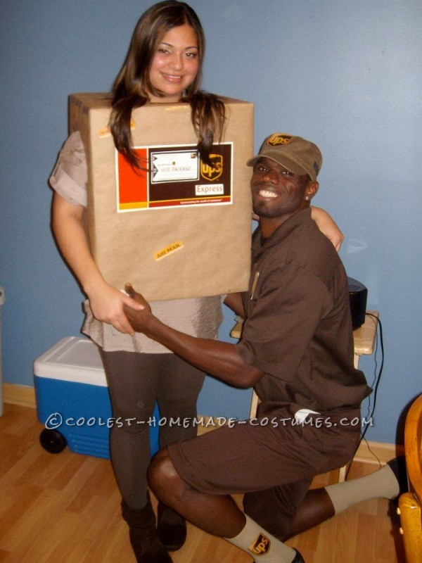 ups guy and his package - Ups Man Halloween Costume